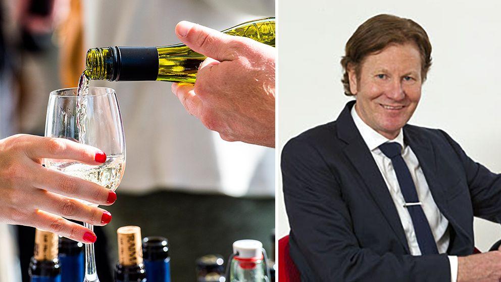 vin som hälls upp, infälld bild på en man