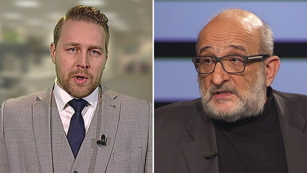 Mattias Karlsson (SD) och Jerzy Sarnecki, professor i kriminologi