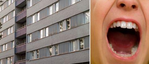 bildmontage. till vänster en bild på flogsta höghus. till höger ett ansikte som skriker.