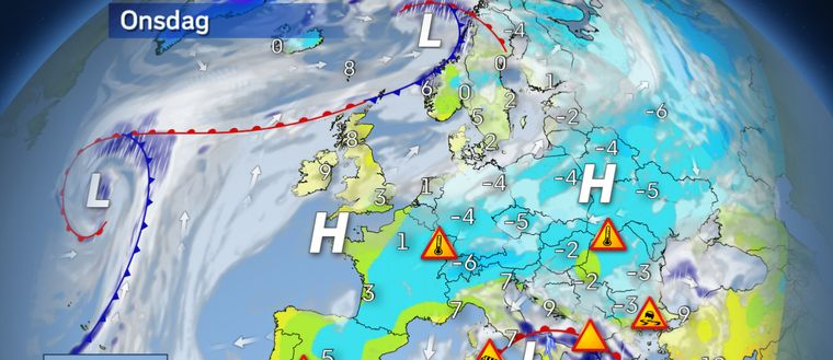 Riktigt kylig luft letar sig till onsdagen ända ner över Iberiska halvön. Det blir då ovanligt kallt över hela Sydeuropa samtidigt som den milda luften letar sig norrut över Brittiska öarna och södra Skandinavien. Ett högtryck över Centraleuropa ger också torrt och på flera håll klart och soligt väder. Lokalt förekommer dock en del dimma. Ett ettrigt lågtryck finns mitt i Medelhavet och skapar besvärligt väder med regn, snö och hårda vindar i Italien, på Balkan och i Grekland. Ett annat djupt lågtryck drar in från norra Atlanten mot Lofoten med mycket hårt väder, snö och stormvindar i Norge.