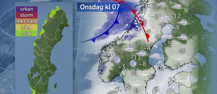 Under natten fortsätter ett område med blötsnö och regn vidare söder ut över södra Götaland. Lokalt kan det bli halkigt då det ännu är kallgrader i marken. Över Svealand och södra Norrland blir natten klar och kall med omkring -15 i nordvästra Dalarna. I norr närmar sig ett lågtryck från Atlanten och det börjar snöa i Lapplandsfjällen.