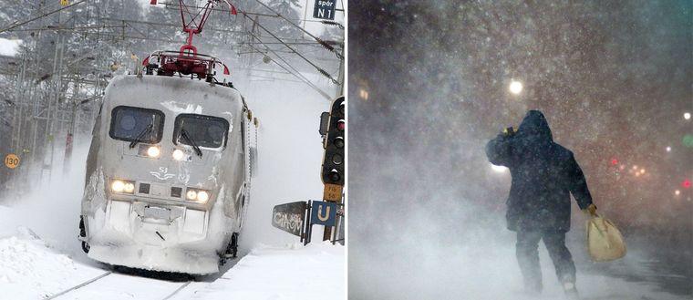 Bild på tåg och en person som kämpar i stormen.