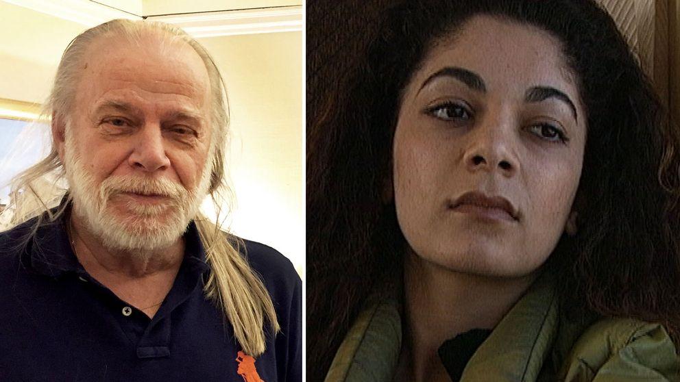 Till vänster en man med ljust/grått hår och skägg. Till höger en kvinna med mörka ögon och tjockt mörkt lockigt hår.