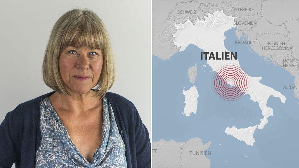 Kristina Kappelin och karta över Italien