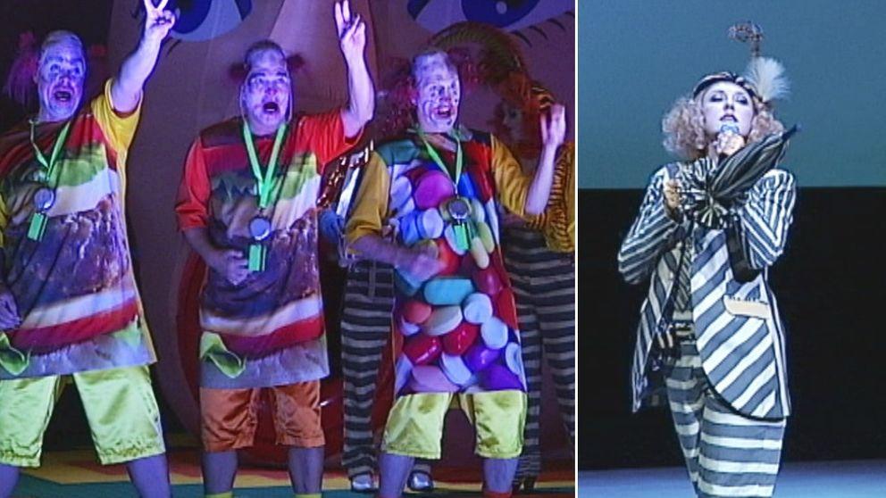 clown, clowner, teater, opera, paraply