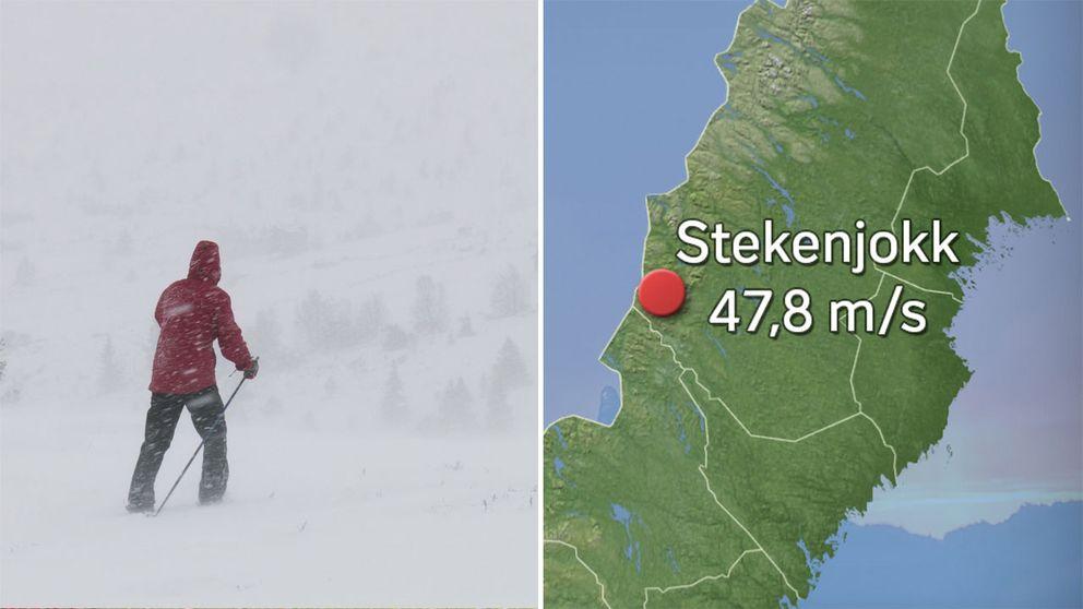 Bild på person i fjällen och karta över Stekenjokk.