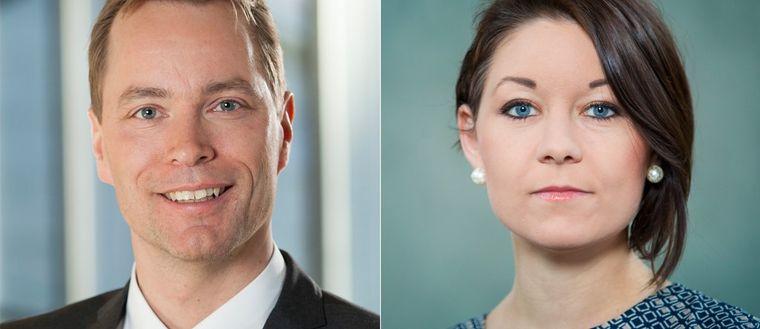 Maria Ferm och Jonas Eriksson, gruppledare för Miljöpartiet i riksdagen.