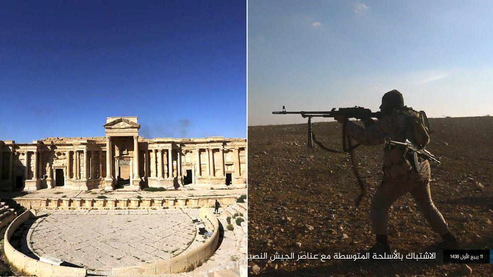 Den romerska teatern i Palmyra och en soldat