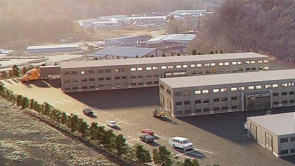 Förslagsritning för tre byggnader vid det planerade handelsområdet utanför Uddevalla.