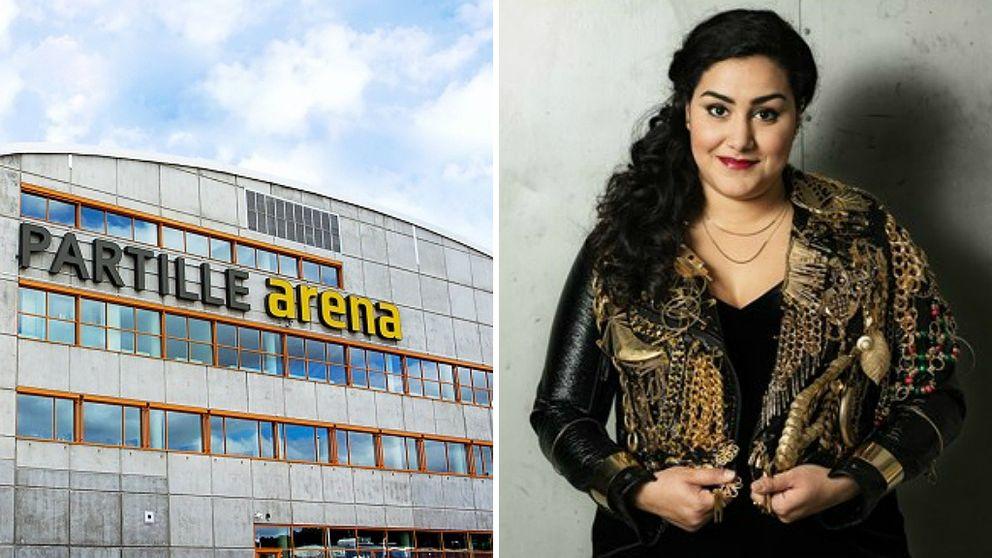 Partille Arena och Tina Mehrafzoon, programledare för P3 Guld.