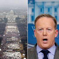 Sean Spicer (till höger) passade under lördagen på att anklaga medier för att ljuga genom att beskära bilder som visar hur många som dök upp när Donald Trump svor presidenteden.