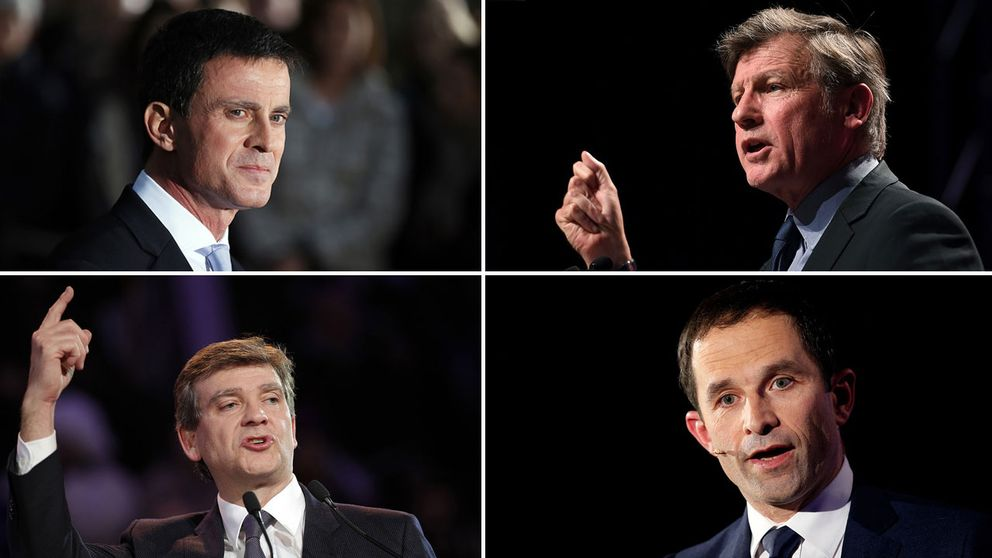 Manuel Valls, VincentPeillon, ArnaudMontebourg och BenoîtHamon.