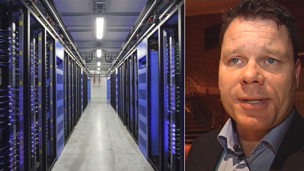 serverhall i Luleå, Christoffer Svanberg, marknadschef på Skellefteå Kraft.
