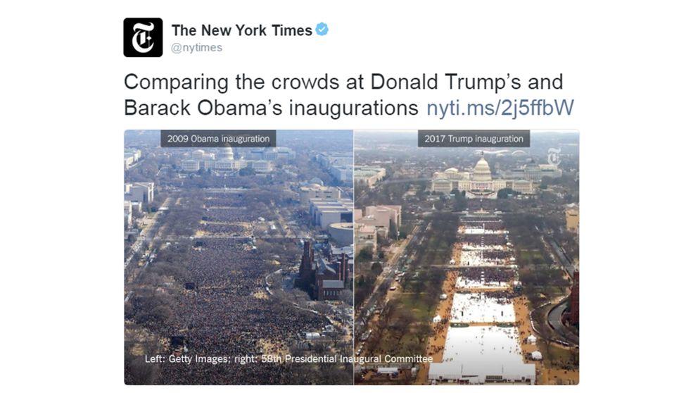 Bilden som New York Times twittrade ut föreställde en jämförelse mellan Trumps installation 2017 och Obamas första installation 2009, som på bilden ovan.