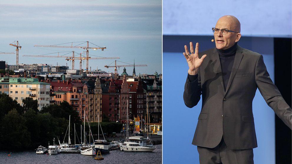 Byggkranar över Stockholm och arkivbild på Kjell A. Nordström.