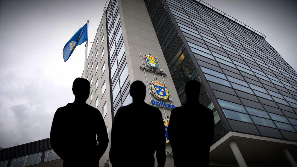 Uppsalas polishus, tre silhuetter inklippta framför.