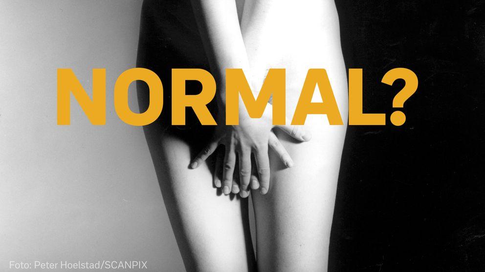 """Kvinna som håller händerna för sitt kön och texten """"normal?"""""""