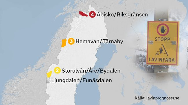 Karta Riksgransen Abisko.Lavinfara Svt Nyheter