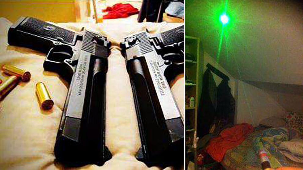 Kolsyrepistol och laserpekare.