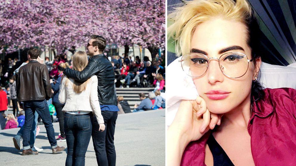 Ett ungt par i Kungsträdgården och en profilbild av Emilie Roslund.