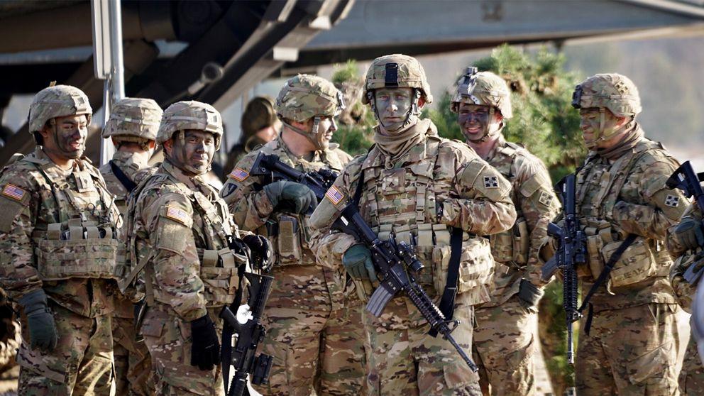 Amerikansk militär på plats vid militärbasen i Zagan i västra Polen.
