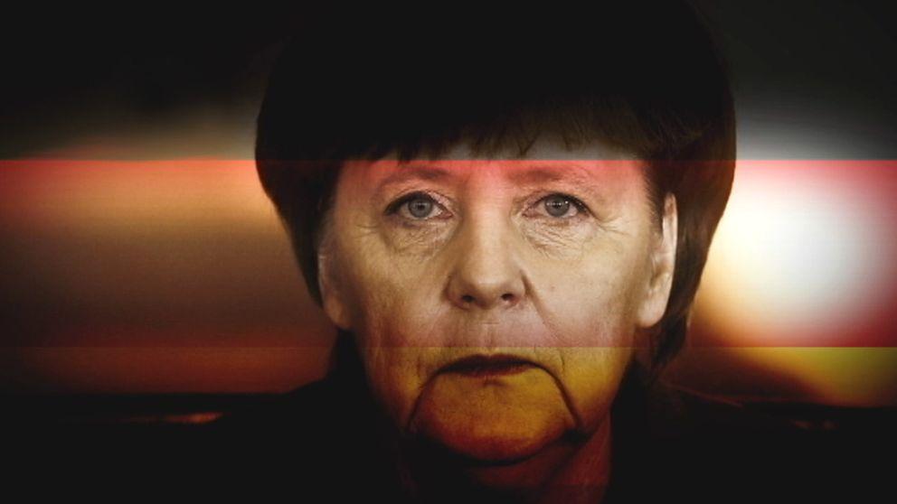 Angela Merkel och Tysklands flagga.