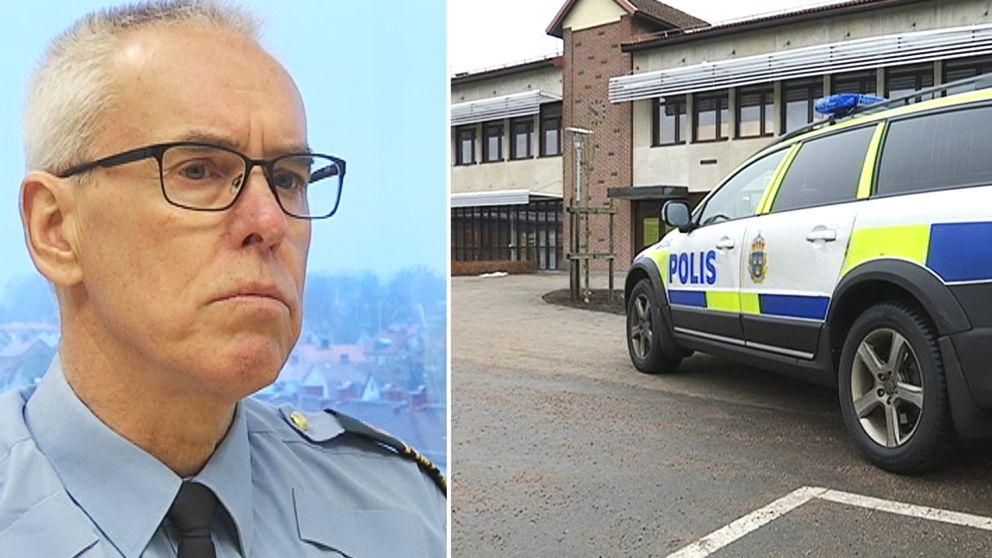 Kommissarie Ingemar Nilja/ polisbil utanför Örnaskolan i Hyltebruk.