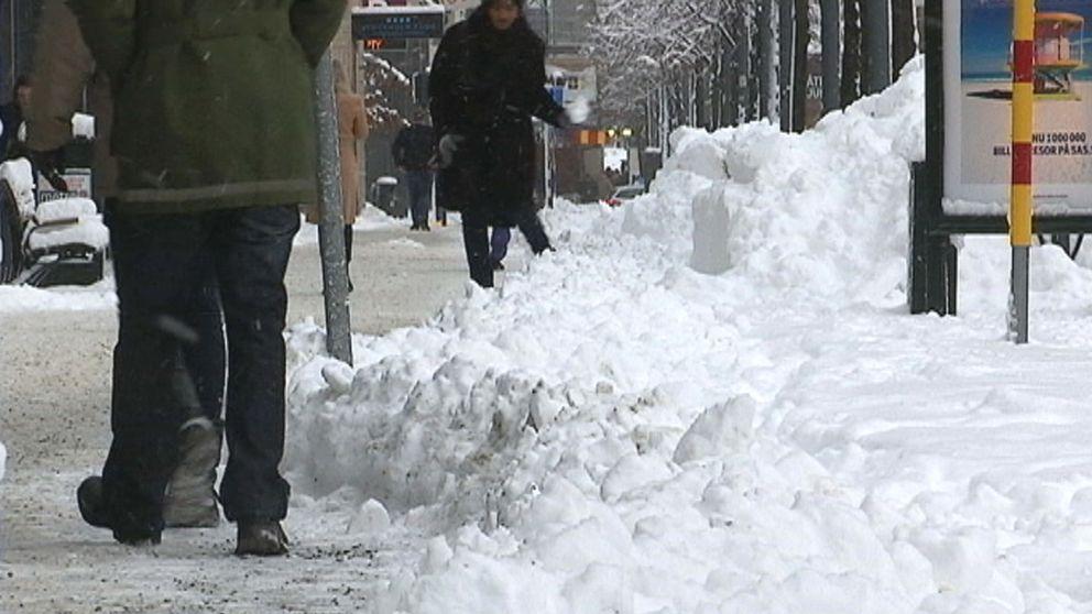 Natten till den 4 januari föll 12 cm över huvudstaden. Snövallarna fick nog en del att tänka tillbaka på extrema snöfallet den 9 november i fjol, men jämfört med de cirka 40 cm som då föll är ju 12 cm ingenting.