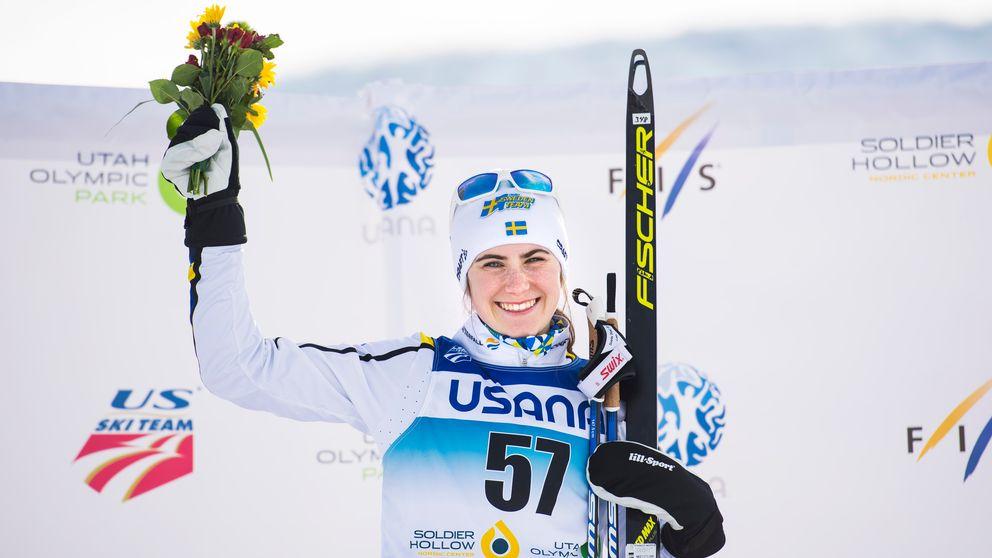 Ebba Andersson tog JVM-guld på fem kilometer fritt.