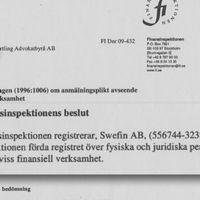 Skuggbanken Swefin godkändes och registrerades av Finansinspektionen.