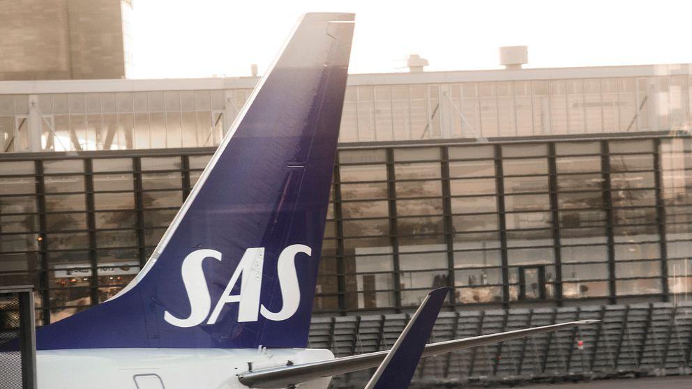 Ett SAS-plan på Arlanda flygplats.
