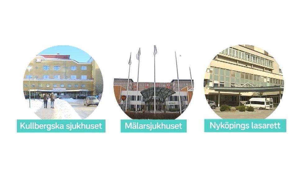 Sörmlands tre sjukhus: Kullbergska, Mälarsjukhuset och Nyköpings lasarett.