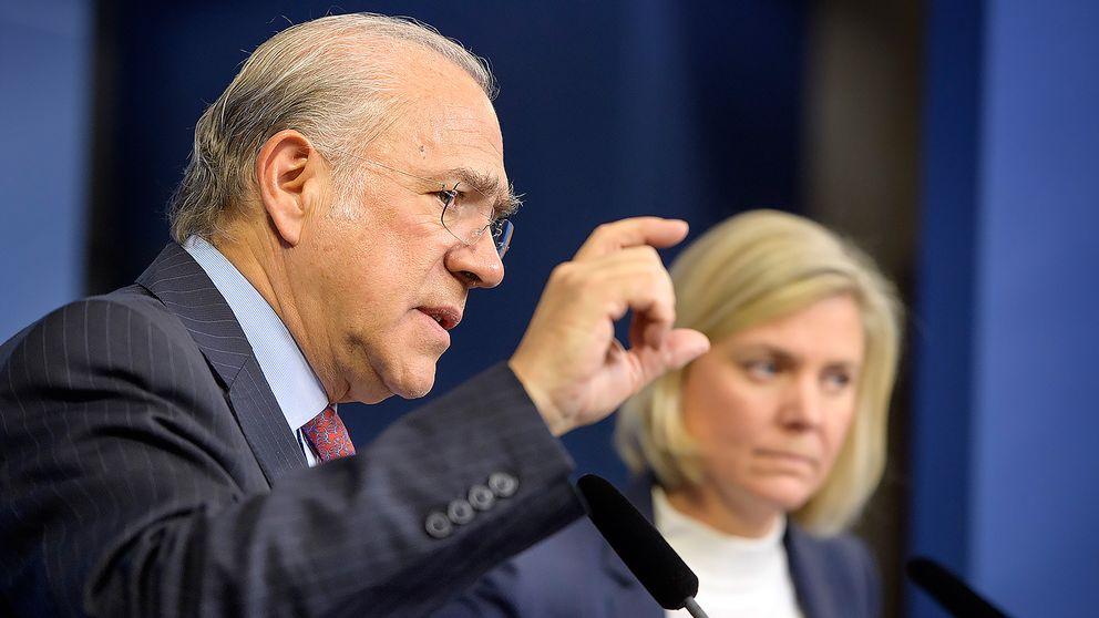 OECD:s generalsekreterare Angel Gurría och finansminister Magdalena Andersson presenterar OECD:s ekonomiska rapport om Sverige under en pressträff i Rosenbad i Stockholm.