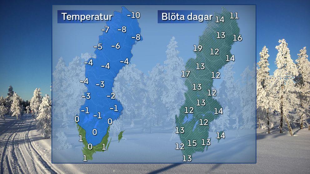 Till vänster: Dagstemperatur en normal februaridag i mitten av månaden. Till höger: Normalt antal blöta dagar i februari. Referensperiod: 1961-1990.