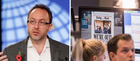 Till vänster Wikipedias grundare James Wales, till höger Daily Mail