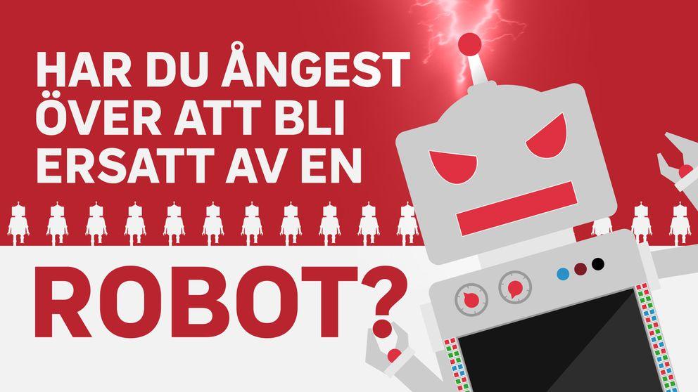 ritad bild på en arg grå robot med röd bakgrund, text: har du ångest över att bli ersatt av en robot?