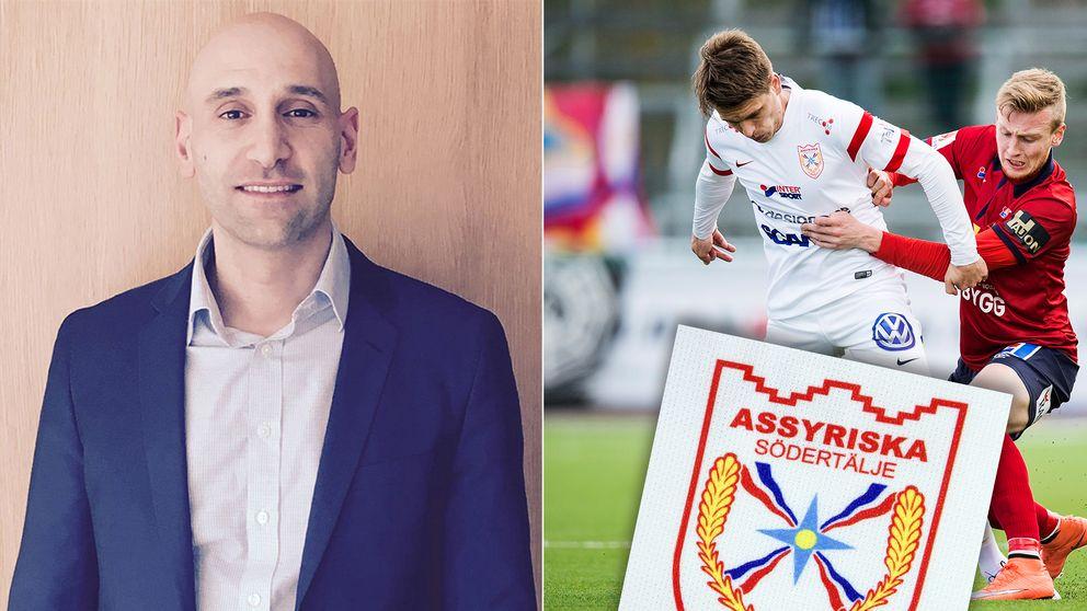 Sargon Demirdag, Assyirska FF:s klubbordförande och före detta Assyriska-spelaren Fredrik Holster.