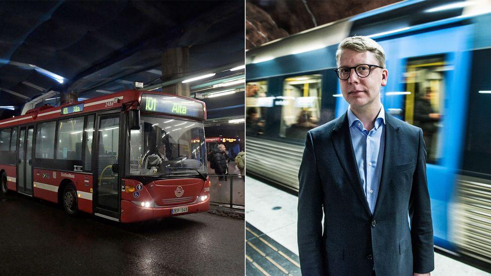 SL-buss och Kristoffer Tamsons (M) framför tunnelbanetåg.