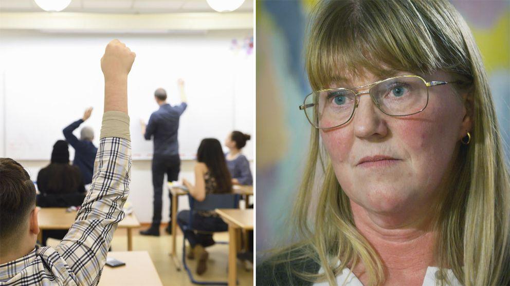 Bild från klassrum och Olivestam Torold, undervisningsråd på Skolinspektionen.