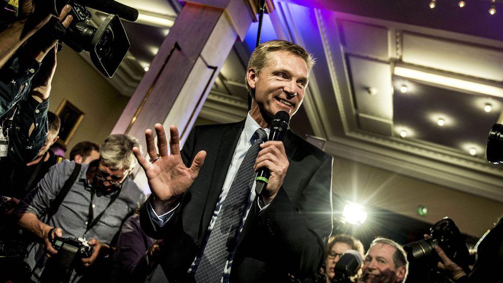 Partiledare för Dansk folkeparti, Kristian Thulesen Dahl efter valframgången år 2015.