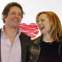 """Skådespelarna Heike Makatsch, Hugh Grant och Laura Linney under premiären av """"Love Actually"""" 2003."""