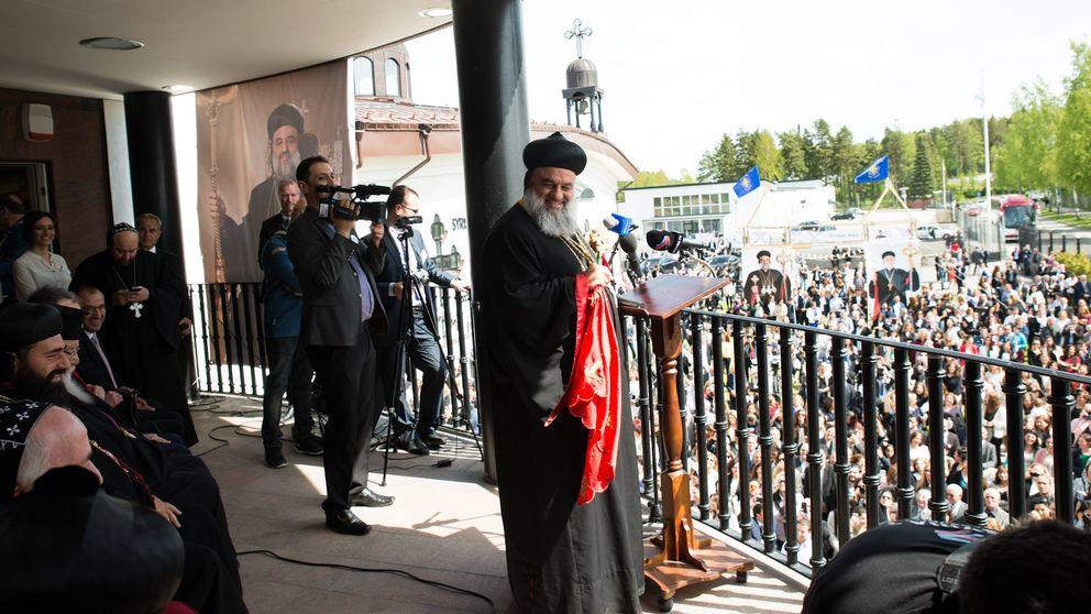 Patriarken Mor Ignatius Aphrem besökte Södertälje den 25 maj 2015.