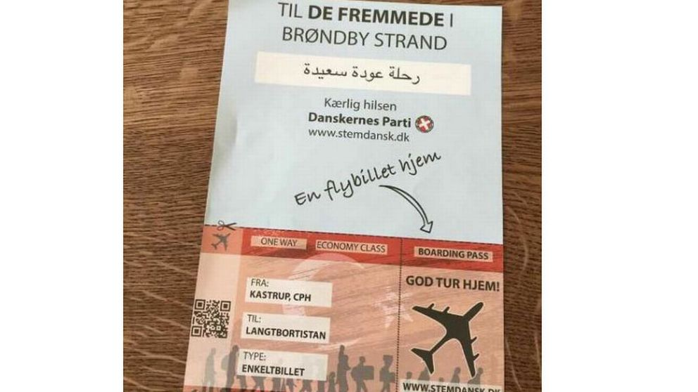 Flygblad som delades ut av Danskernes Parti i Brøndby kommun, där många invandrare bor.