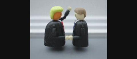 Animerade gubbar som skakar hand