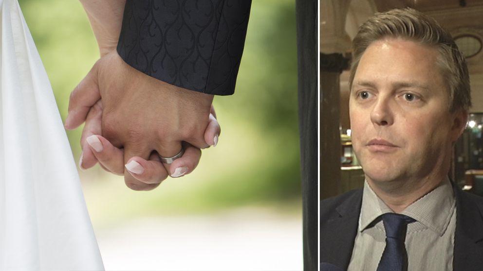 Montage: Vigt par som håller hand och Christian Holm Barenfelt
