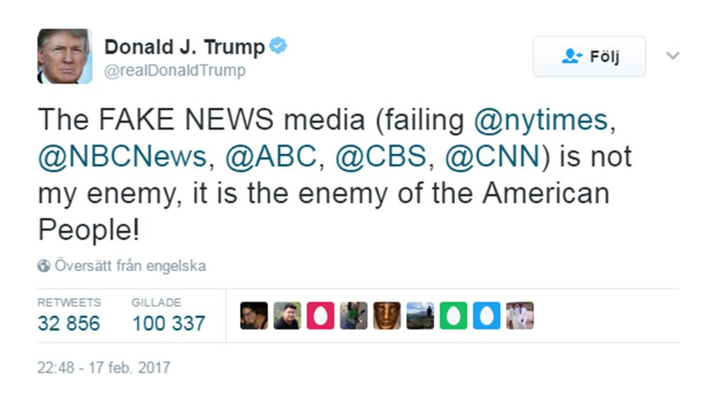 Trump attackerar medierna i ny tweet.