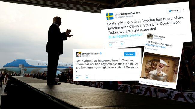 Många skämt under hashtag #LastNightInSweden efter Trumps tal