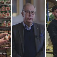 Butikesinnehavaren Mohammed Qasem, VD:n Göran Johansson och lackaren Mohammed Arif Sharifi.