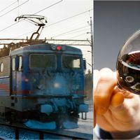 Ett SJ-tåg och en vindrickande man