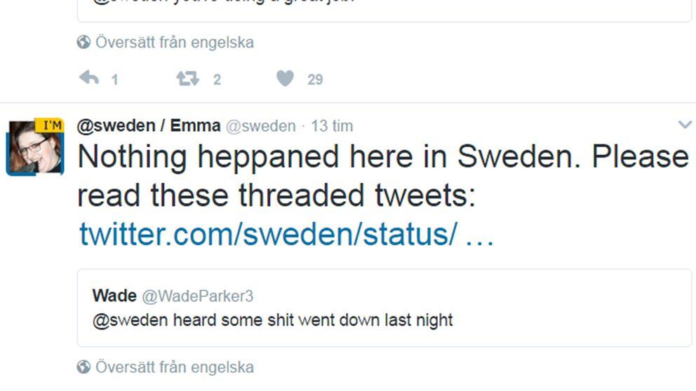 Faksimil: @sweden / Twitter